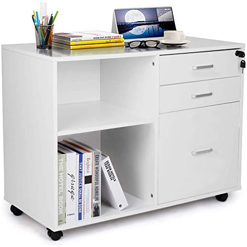 TUSY White Printer Stand with Open Storage Shelves, White Locked File Cabinet, Printer Cabinet, 3-Drawer File Cabinet with Lock, Home Office