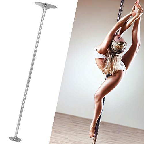 Yaheetech Fitness Dance Pole Exercise Stripper Dancing Pole Spinning & Static Dance Pole Set with Adjustable Height:92.5-108.3'', Silver