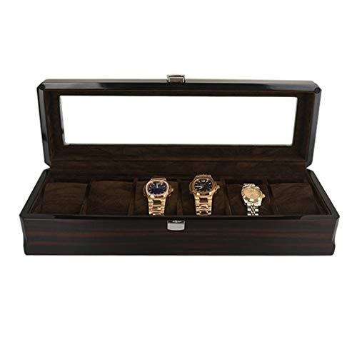 BICCQ Caja de Reloj Organizador de la Caja de Reloj de Madera Maciza con la Parte Superior de la Pantalla de Vidrio, 6 Ranuras Caja de Reloj