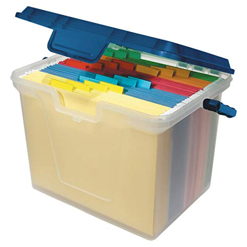 Office Depot Portable File Box, 10 11/16in.H x 14 11/16in.W x 10 3/8in.D, Clear/Navy, 55767