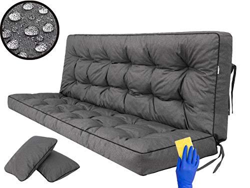 Sitzkissen Bankkissen Bankauflage für Gartenbank Schaukelkissen Bodenkissen Kissen für Hollywoodschaukel Outdoor und Indoor -180 cm - Graphit