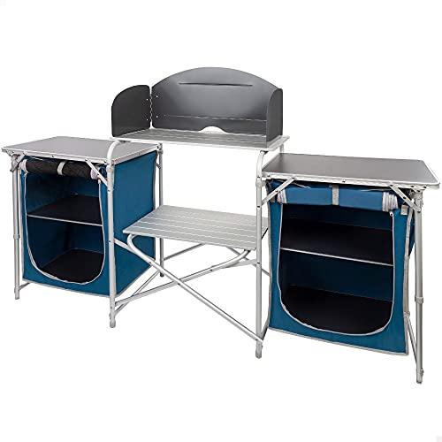 Aktive 52856 - Mueble plegable cocina, 4 compartimentos de almacenamiento, armario doble, mueble portátil aluminio, 172x35x80 cm, color azul marino