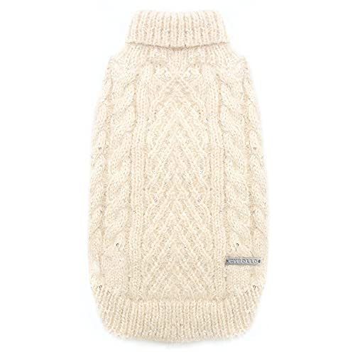 cyeollo Turtleneck Dog Sweater Pullover Knitted Classic Sweaters with Sequin Keep Warm for Doggie Dog Clothes for Large Dogs