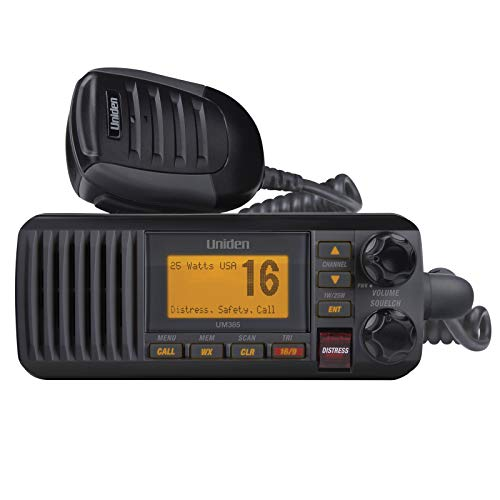 Uniden UM385BK 25 Watt Fixed Mount Marine Vhf Radio, Waterproof IPX4 W/ Triple Watch, Dsc,...