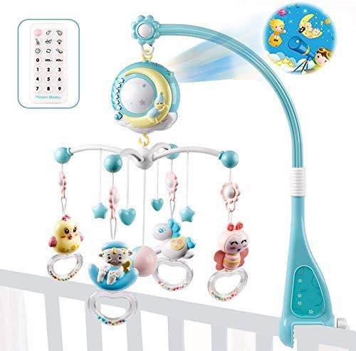 Miwaimao Baby Musical Cuna Móvil con Control Remoto, Bebida Bebida Bell Bell RAPTHING RAPTANTE FLORTE Flash, Caja de música para Juguetes para niños pequeños recién Nacidos, Azul