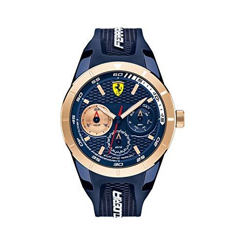 Scuderia Ferrari Herrenuhr RedRev T Chronograph Blau & Roségold 44 mm 830379