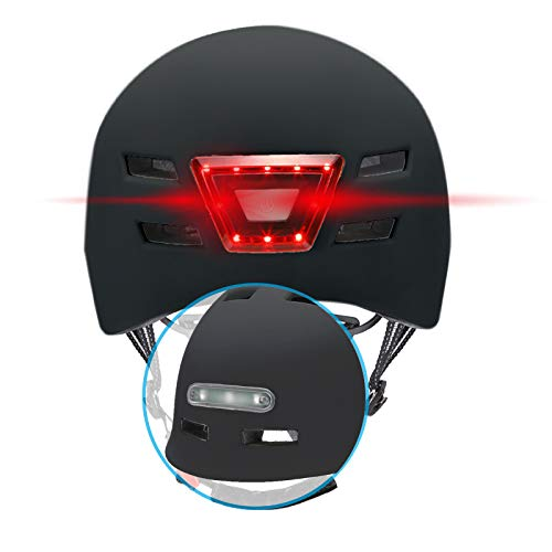 BEEPER - Casco de Bicicleta, Scooter con Luces Delanteras y traseras integradas ME135 (Negro, L)