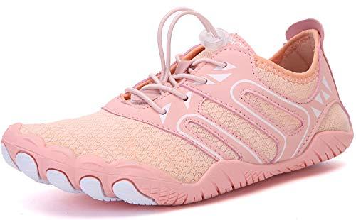 Sixspace Barfußschuhe Damen Badeschuhe Traillaufschuhe Outdoor & Indoor Training Fitnessschuhe Wander Wald Strand Straße Laufschuhe Walkingschuhe Schnell Trocknend Aquaschuhe(Pink 40 EU)
