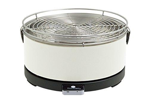 Feuerdesign Mayon Grill E Pinza per Barbecue, Diametro 33 Cm, Lavabile in Lavastoviglie, Ventola Rimovibile, Borsa per Trasporto Inclusa, Bianco