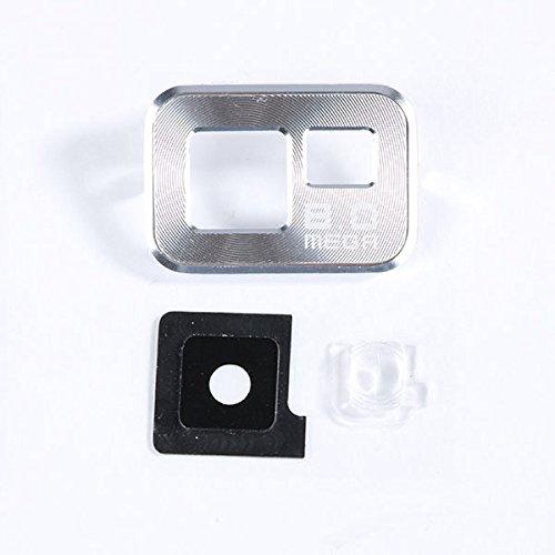Ricambio lente vetro COVER 'SILVER' Camera Fotocamera Posteriore Esterna + VETRINO FLASH per SAMSUNG GALAXY S2 i9100 ; S2 PLUS i9205 BIANCO