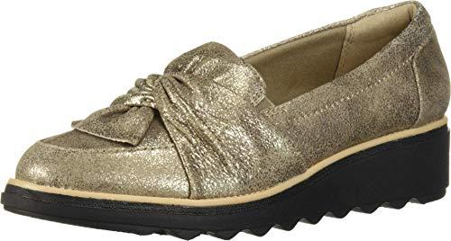 Clarks Sharon Dasher Chaussures Basses pour Femme - Argenté - Etain Daim, 41 EU Weit