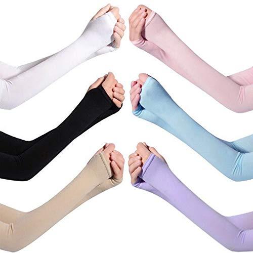 BN Maniche del braccio, Manicotti Braccio UV, Braccio di protezione UV unisex, protezione UV per ciclismo, pesca, basket, escursionismo, 6 paia, 6 colori