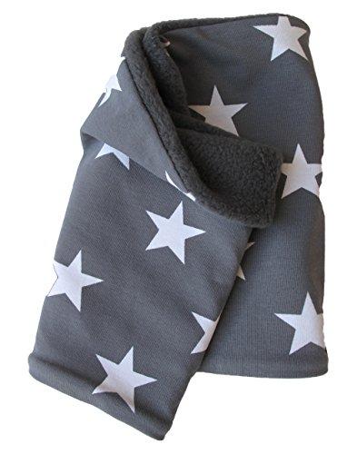 Wollhuhn Warmes Halstuch, Schal, grau mit weißen Sternen, Innenseite Fleece, für Jungen und Mädchen 20150115