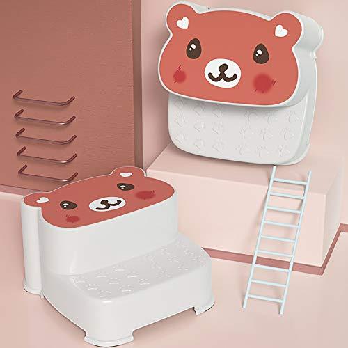 GCP Bebé 2-banquito,Dibujos Animados Plástico Escalonar Taburete para Niños Anti-Deslizar Step Taburete para El Baño para IR Al Baño(1PC)-Rojo 34x30x20cm(13x12x8inch)