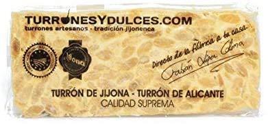 Turrón duro Alicante artesano. Tableta dura o barra de 300 gramos – Turrones Fabián - ¿Cuál es nuestro secreto? Turrón elaborado en Jijona con Almendra marcona Mediterránea de primera calidad. Tiene la Denominación de Origen Jijona-Alicante. Es artesano. - Ingredientes Naturales: Almendra tostada (61~65%), Miel (21%), clara de huevo, azúcar y oblea - Elaborado en Jijona
