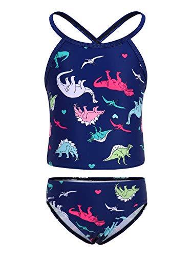 WonderBabe Mädchen Zweiteilige Cartoon Badeanzug Animal Print Badeanzug ärmellos Bademode Kinder Tankini Set Beachwear Sommer Schwimmen Outfit Alter 8-9 Jahre