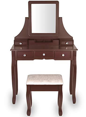 Amooly Vanity Set with Mirror,5 Sliding Drawers, Removable Makeup Organizer,Cushioned Stool Dressing Table Vanity Makeup Table Brown