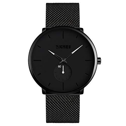 QiKun-Home Time Beauty Simple Fashion Reloj Impermeable para Hombre Business Two Needles Cinturón de Acero Semi-Inoxidable Reloj de Cuarzo Juvenil Blanco
