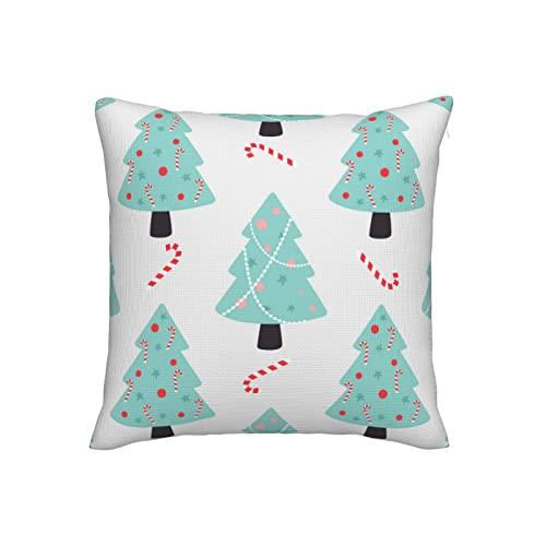 Fundas de almohada decorativas de lino de imitación con diseño de árbol de Navidad, fundas de cojín cuadradas de 18 x 18 pulgadas, para sofá, dormitorio, sala de estar