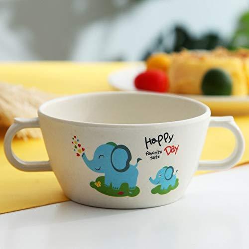 SHIN 1 Pieza de Fibra de bambú para bebés, vajilla para Comer de Dibujos Animados, Plato de Cena para niños, Plato de alimentación para niños pequeños, Cuenco de Entrenamiento para niños