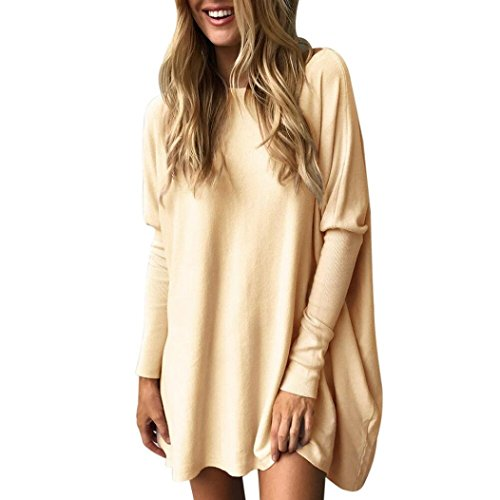ESAILQ Damen Sommer T-Shirt Casual Streifen Patchwork Kurzarm Oberteil Tops Bluse Shirt(L,Khaki)