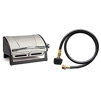 Cuisinart CGG-059 Propane, Grillster 8,000 BTU Portable Gas Grill & QG-012B LP Adapter Hose, 4-Foot