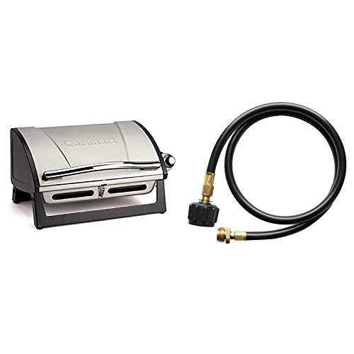 Cuisinart CGG-059 Propane, Grillster 8,000 BTU Portable Gas Grill & QG-012B LP Adapter Hose, 4-Foot Grills Propane
