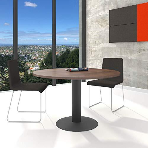 Optima runder Besprechungstisch Ø 120 cm Nussbaum Anthrazites Gestell Tisch Esstisch