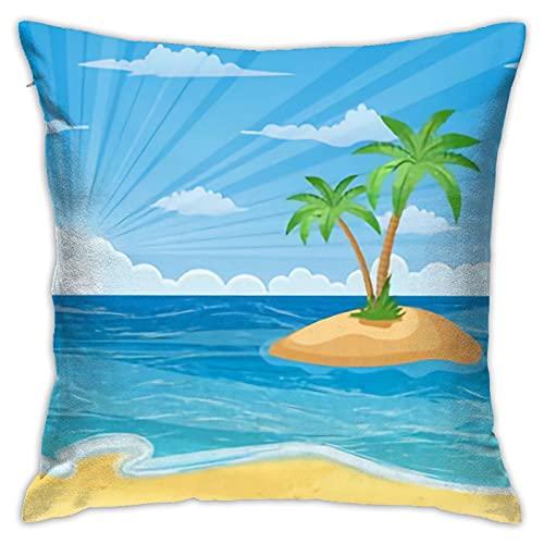 Funda de almohada para verano, playa, sol, palmeras, cielo sin nubes, diseño de estrellas, funda de almohada decorativa para decoración del hogar, 45,7 x 45,7 cm