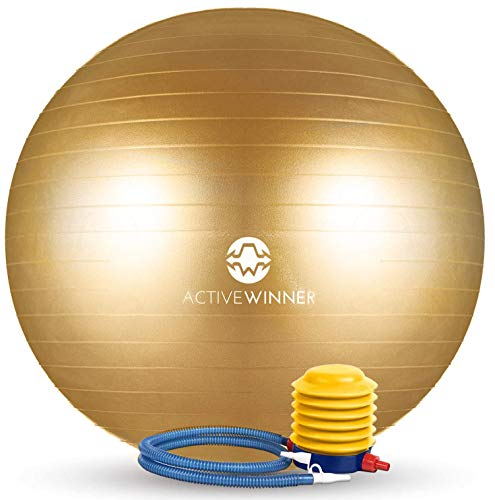 Active Winner バランスボール 65cm ゴールド アンチバースト 分厚い 滑り止め加工 フットポンプ付 ヨガ ピラティス 筋トレ ストレッチ オフィスチェア