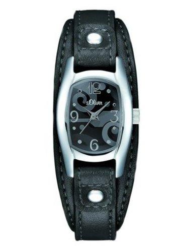 s.Oliver Damen-Armbanduhr SO-1306-LQ, schwarz/grau