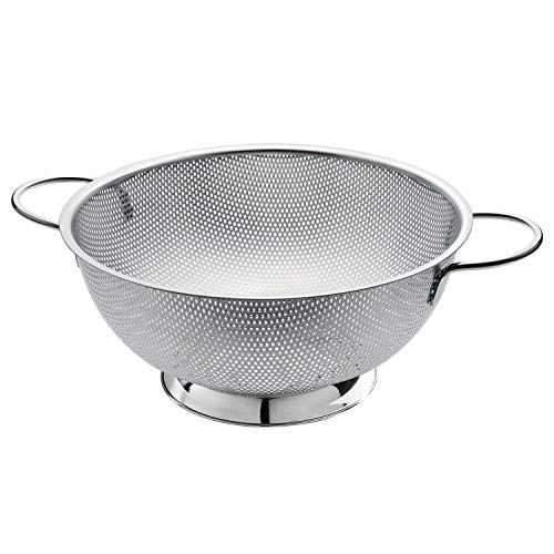 TORVA 5-Quart Stainless Steel Colander - Micro-perforated with Professional Strainer - Heavy Duty Handles and Self-draining Solid Ring Base