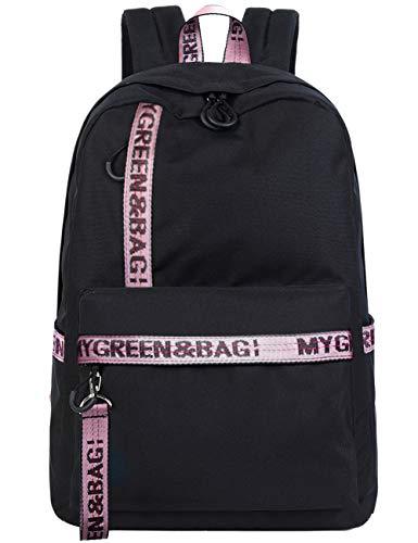 Mygreen Schultasche mit Stickerei Rucksack für Cool Girls Fashion modische Tasche für College Studierende Rucksack Casual Schultasche Daypack für 15.6 Zoll Laptop – Schwarz Pink