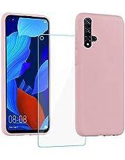 XinYue - Funda para Huawei Nova 5T / Honor 20 + Protector Pantalla, Carcasa de Silicona Líquida Gel Ultra Suave Funda con tapete de Microfibra Anti-Rasguño - Rosa