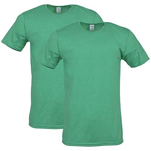 Gildan Men's Softstyle Cotton T-Shirt, Style G64000, 2-Pack, Heather Irish Green, Large