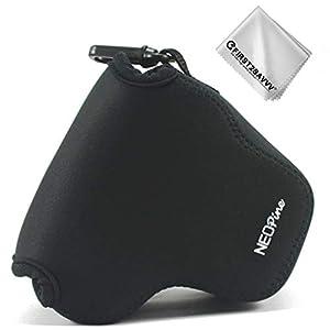 First2savvv negro Funda Cámara Reflex Neopreno Protectora para Canon EOS M100 M10 con lente de 15-45 mm + Paño de limpieza QSL-EOS M100-01G11