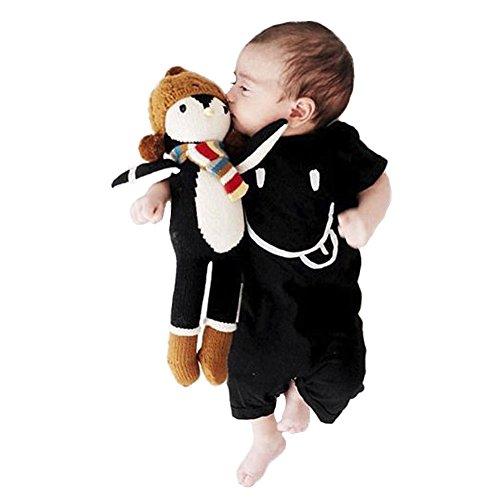 Onesie korte mouwen baby jersey baby leuke cartoon konijntje overall bodysuit rompers (90, 12-24 maand, zwart #)