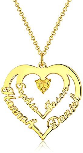 Collar Lakabara de plata de ley 925 para mujer, collar en forma de corazón con 4 nombres, collar familiar de piedra natal, oro 20.0