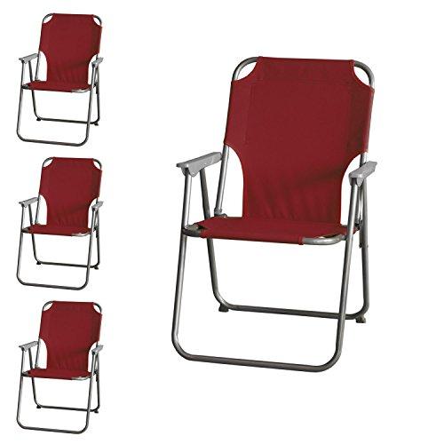4 Stück Wohaga® Campingstuhl mit Armlehnen, klappbar, Rot, Klappstuhl Faltstuhl Gartenstuhl Strandstuhl Anglerstuhl