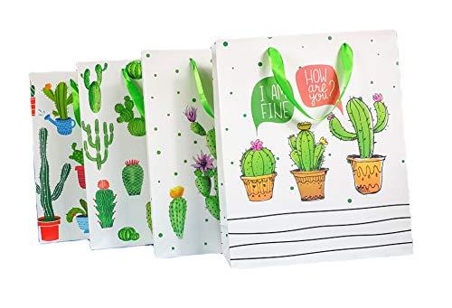 8 bolsas de papel para regalo con asas grandes 32x26x10 cm cactus de calidad regalos comunión