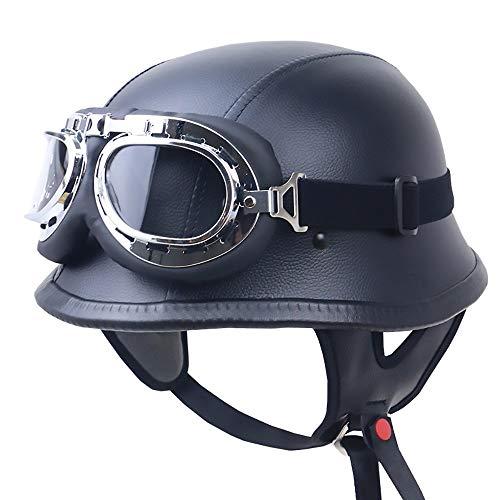 Stella Fella Cascos Hombres Negro Casco de Seguridad Casco de Equitación Al Aire Libre Casco de Cuero Retro Moto Casco de Equitación Locomotora Medio Casco