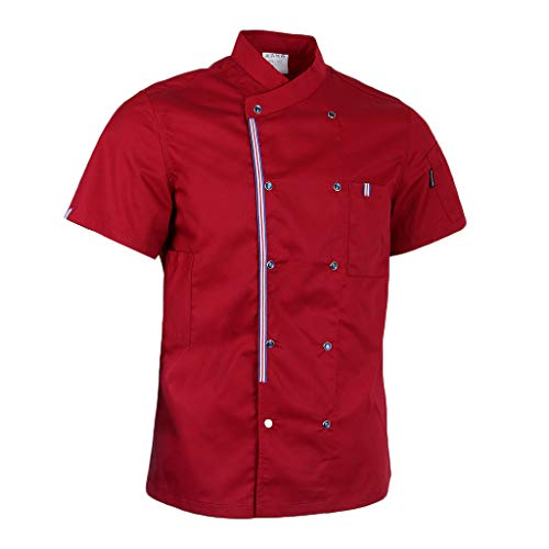 MagiDeal Herren Damen Kochjacke Bäckerjacke mit Druckknöpfe Kurzarm Arbeitsjacke Kochkleidung Koch Gastronomie Berufsbekleidung - rot, 2XL