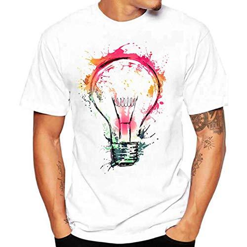 T-shirt da uomo estiva, alla moda, stampa 3D, casual, collo rotondo, in cotone, da uomo, taglia asiatica bianco 4XL