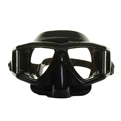 EVO Hammerhead+ Dive Mask 4 Lens Panoramic Diving Mask with Purge Valve, Freediving, Snorkel, Scuba Mask for Men Women, Easily Adjustable for Great Fit (Black/Black)
