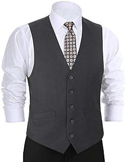Men's Formal Suit Vest Business Vest Dress Vest Waistcoat 5 Button Regular Fit