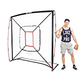 NET PLAYZ 7' x 7' Baseball & Softball Practice Hitting & Pitching Net Similar to Bow Frame, Great for All Skill Levels, Pop up/Easy Fold up/Fiberglass Frame, Light Weight, Portable, Black (NOC05140)