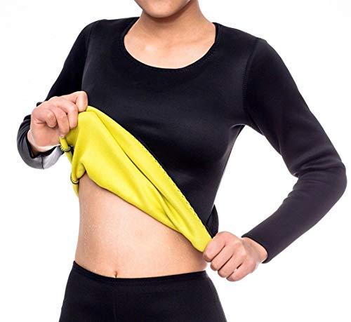 NOVECASA Camisa Sauna Manga Larga Shirt Trajes de Sauna Deportivos Mujer de Neopreno Body Shaper para Sudoración,Quema Grasa,Adelgazante (S, Camisa)