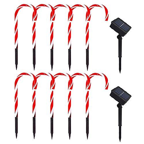 Juego de 2 luces de bastón de caramelo para Navidad, luces solares para jardín, poste de Navidad, luz LED, luz de suelo, patio,...