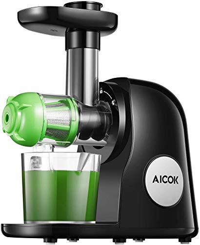 Juicer Machines, Aicok Slow Masticating Juicer Extractor Easy to Clean, Quiet Motor & Reverse Function, BPA-Free, Cold Press Juicer with Brush, Juice Recipes for Vegetables and Fruits, Classic Black