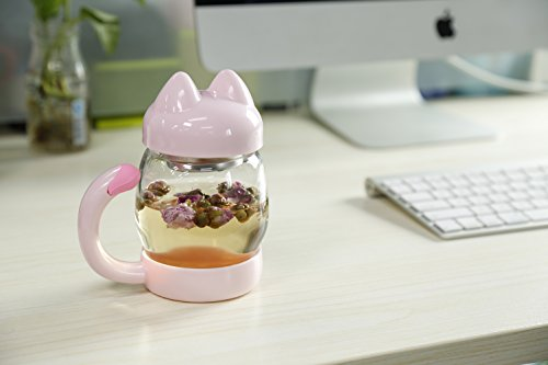 Cute Cat Tea Cup - Glass Coffee Teacup with Lid Tea Infuser Strainer - 14oz Lovely Kitty Cups Heat Resistant Mugs for Home Décor (Pink)